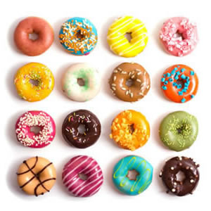 A collection of colourful donuts