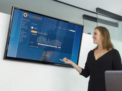 A woman presents the progress her team are making using the focus:progress manager dashboard on a large, wall mounted television