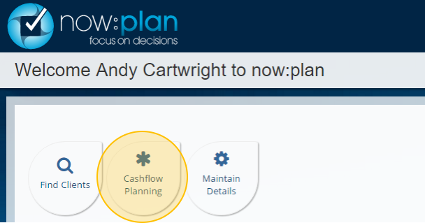 There is a 'Cashflow Planning' button on the home page.